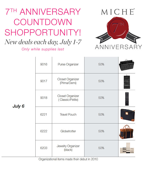 Miche 7th Anniversary Sale - 7 Days of Great Deals!