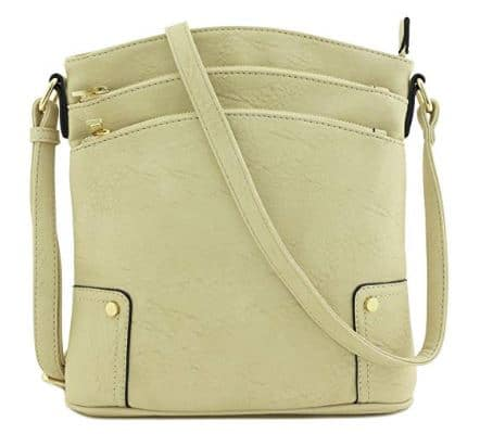 Triple Zip Pocket Large Crossbody Bag
