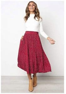 Women's Elastic Waist Polka Dot Printed Pleated Vintage Skirt