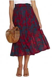 Women's Elastic Waist Floral Printed Pleated Vintage Skirt